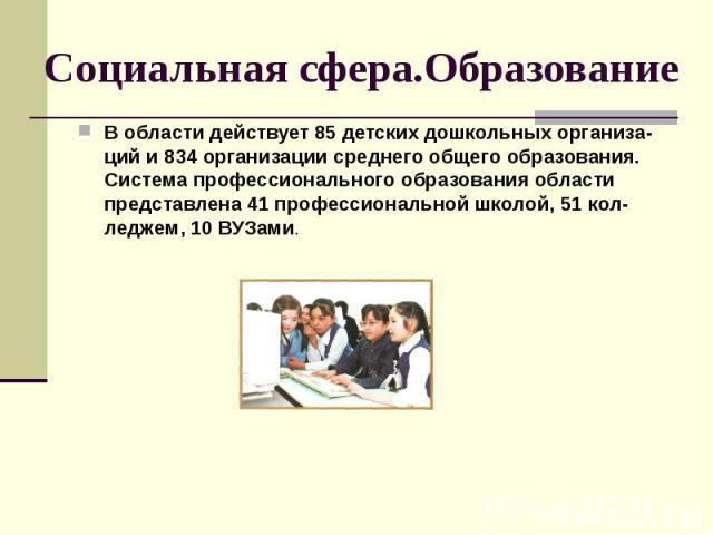 Социальная сфера.Образование В области действует 85 детских дошкольных организа-ций и 834 организации среднего общего образования. Система профессионального образования области представлена 41 профессиональной школой, 51 кол-леджем, 10 ВУЗами.