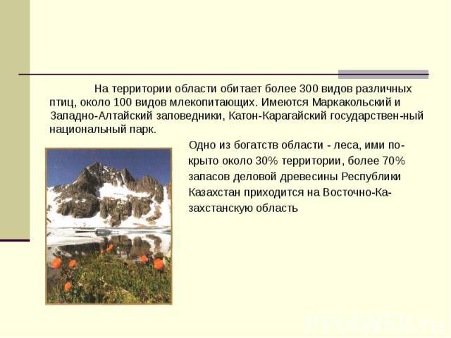 На территории области обитает более 300 видов различных птиц, около 100 видов млекопитающих. Имеются Маркакольский и Западно-Алтайский заповедники, Катон-Карагайский государствен-ный национальный парк. На территории области обитает более 300 видов р…
