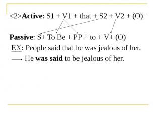 <2>Active: S1 + V1 + that + S2 + V2 + (O) <2>Active: S1 + V1 + that
