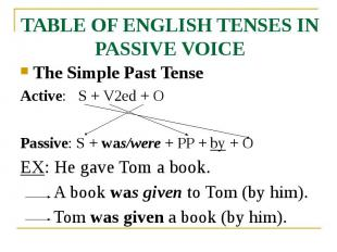 TABLE OF ENGLISH TENSES IN PASSIVE VOICE The Simple Past Tense Active: S + V2ed