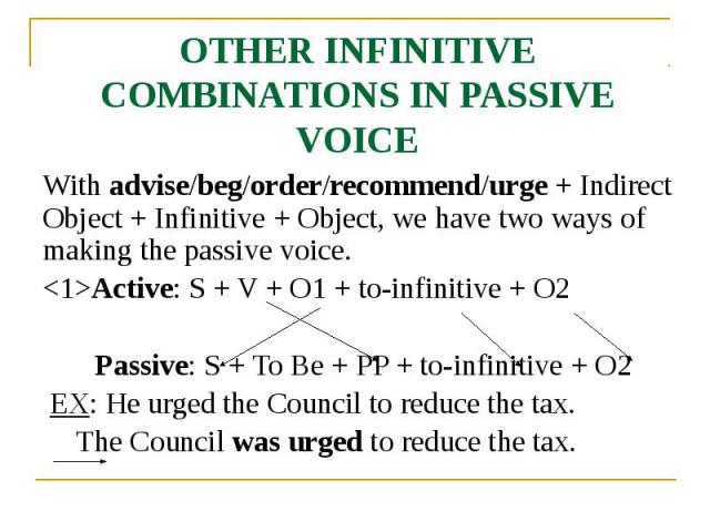 OTHER INFINITIVE COMBINATIONS IN PASSIVE VOICE With advise/beg/order/recommend/urge + Indirect Object + Infinitive + Object, we have two ways of making the passive voice. <1>Active: S + V + O1 + to-infinitive + O2 Passive: S + To Be + PP + to-…