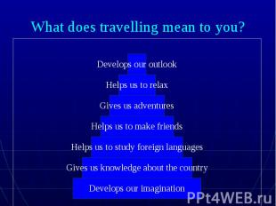 What does travelling mean to you?