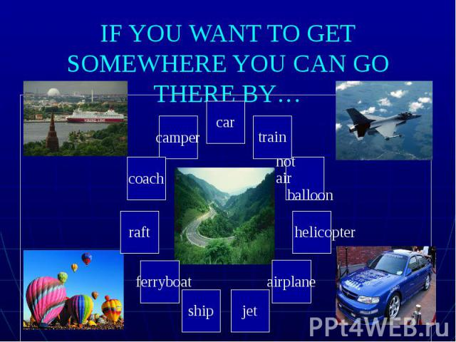 IF YOU WANT TO GET SOMEWHERE YOU CAN GO THERE BY…
