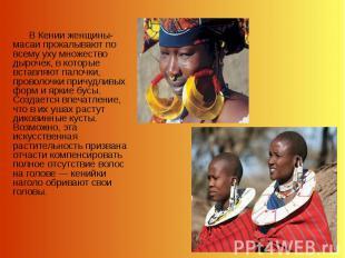 В Кении женщины-масаи прокалывают по всему уху множество дырочек, в которые вста