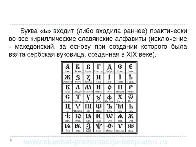 Буква «ь» входит (либо входила раннее) практически во все кириллические славянские алфавиты (исключение - македонский, за основу при создании которого была взята сербская вуковица, созданная в XIX веке). Буква «ь» входит (либо входила раннее) практи…