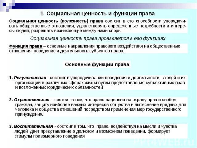 1. Социальная ценность и функции права