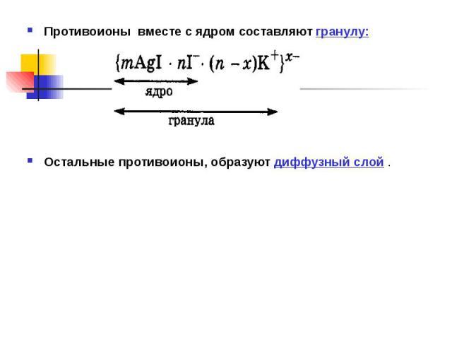 Противоионы вместе с ядром составляют гранулу: Противоионы вместе с ядром составляют гранулу: Остальные противоионы, образуют диффузный слой .