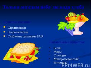 Только ангелам неба не надо хлеба Функции питания: Строительная Энергетическая С
