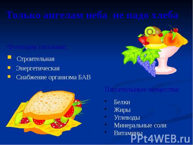 Только ангелам неба не надо хлеба Функции питания: Строительная Энергетическая Снабжение организма БАВ