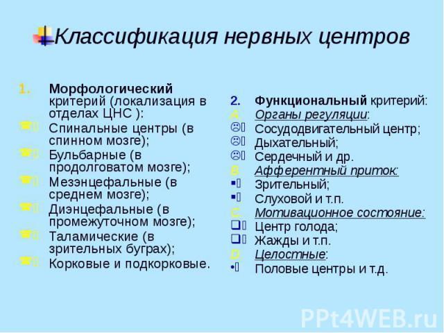 Классификация нервных центров Морфологический критерий (локализация в отделах ЦНС ): Спинальные центры (в спинном мозге); Бульбарные (в продолговатом мозге); Мезэнцефальные (в среднем мозге); Диэнцефальные (в промежуточном мозге); Таламические (в зр…