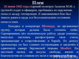 Плен 26 июня 1942 года старший политрук Залилов М.М. с группой солдат и офицеров