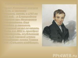 Учёба В.А.Жуковского Учился Жуковский сначала в Туле, в частном пансионе, затем,