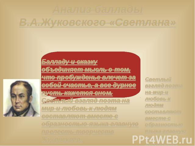 Анализ баллады В.А.Жуковского «Светлана»