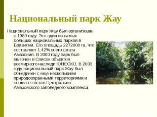 Национальный парк Жау Национальный парк Жау был организован в 1980 году. Это оди