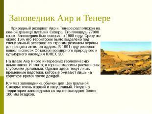 Заповедник Аир и Тенере Природный резерват Аир и Тенере расположен на южной гран