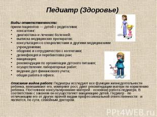 Педиатр (Здоровье) Виды ответственности: прием пациентов — детей с родителями; к
