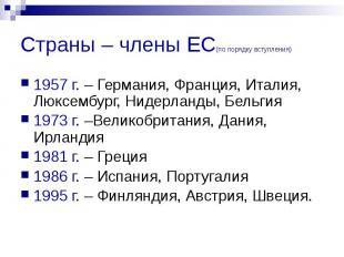 Страны – члены ЕС(по порядку вступления) 1957 г. – Германия, Франция, Италия, Лю
