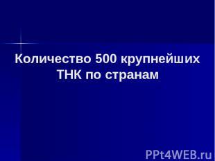 Количество 500 крупнейших ТНК по странам