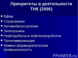 Приоритеты в деятельности ТНК (2005) Банки Страхование Автомобилестроение Электр