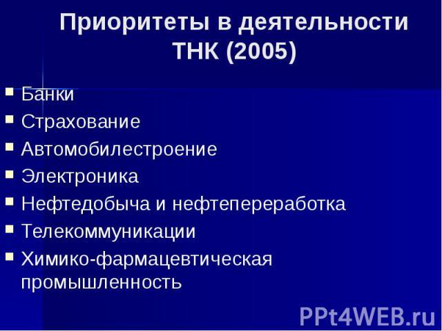 Приоритеты в деятельности ТНК (2005) Банки Страхование Автомобилестроение Электроника Нефтедобыча и нефтепереработка Телекоммуникации Химико-фармацевтическая промышленность