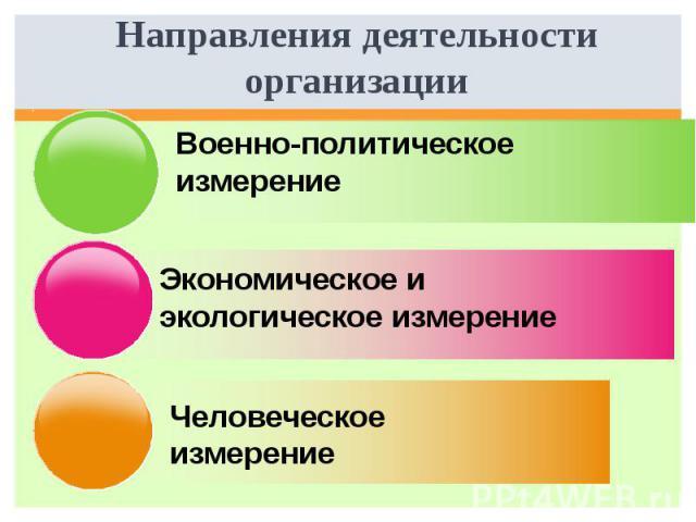 Направления деятельности организации