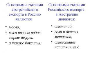 Основными статьями австралийского экспорта в Россию являются: масло, мясо разных