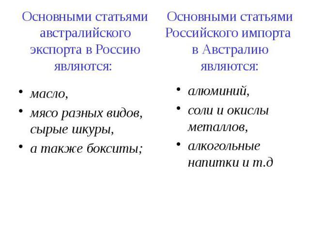 Основными статьями австралийского экспорта в Россию являются: масло, мясо разных видов, сырые шкуры, а также бокситы;