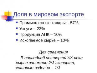 Доля в мировом экспорте Промышленные товары – 57% Услуги – 23% Продукция АПК – 1