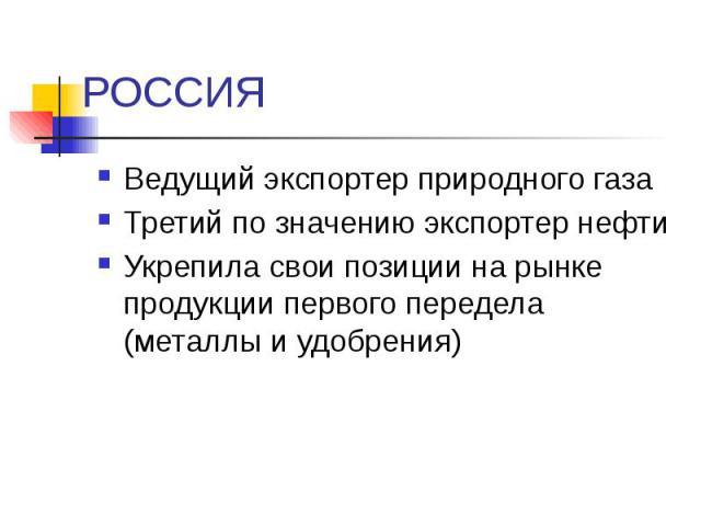 РОССИЯ Ведущий экспортер природного газа Третий по значению экспортер нефти Укрепила свои позиции на рынке продукции первого передела (металлы и удобрения)