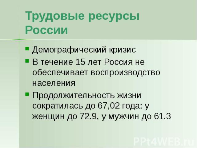 Трудовые ресурсы России Демографический кризис В течение 15 лет Россия не обеспечивает воспроизводство населения Продолжительность жизни сократилась до 67,02 года: у женщин до 72.9, у мужчин до 61.3