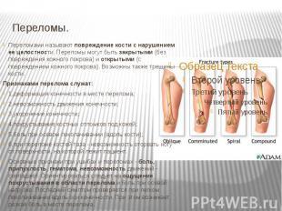 Переломы. Переломами называют повреждение кости с нарушением ее целостности. Пер