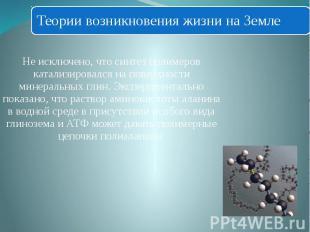 Не исключено, что синтез полимеров катализировался на поверхности минеральных гл
