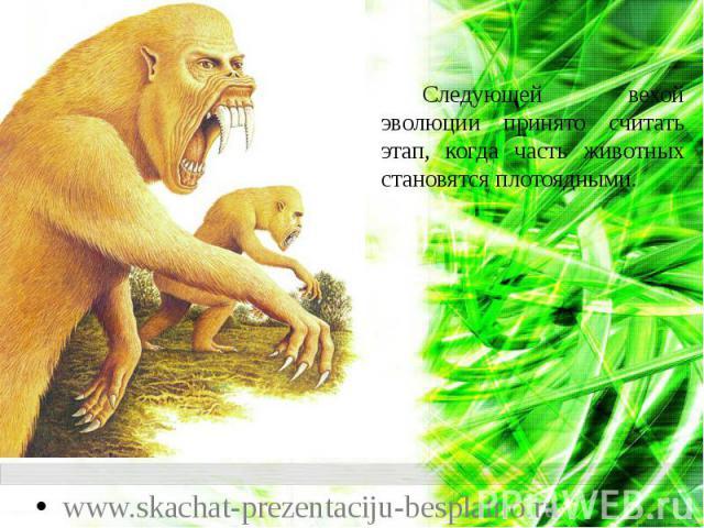 Следующей вехой эволюции принято считать этап, когда часть животных становятся плотоядными. Следующей вехой эволюции принято считать этап, когда часть животных становятся плотоядными.