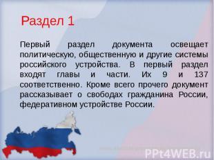 Раздел 1 Первый раздел документа освещает политическую, общественную и другие си