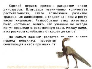 Юрский период признан расцветом эпохи динозавров. Благодаря увеличению количеств