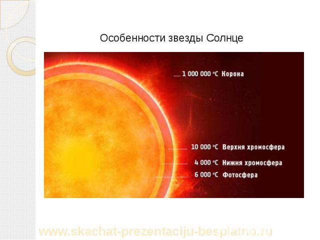 Особенности звезды Солнце Особенности звезды Солнце