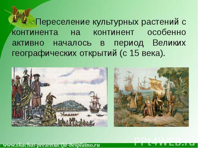 Переселение культурных растений с континента на континент особенно активно началось в период Великих географических открытий (с 15 века). Переселение культурных растений с континента на континент особенно активно началось в период Великих географиче…