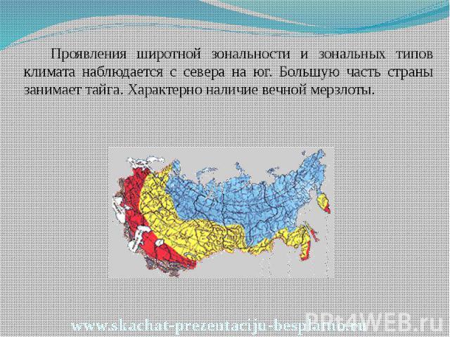 Проявления широтной зональности и зональных типов климата наблюдается с севера на юг. Большую часть страны занимает тайга. Характерно наличие вечной мерзлоты. Проявления широтной зональности и зональных типов климата наблюдается с севера на юг. Боль…