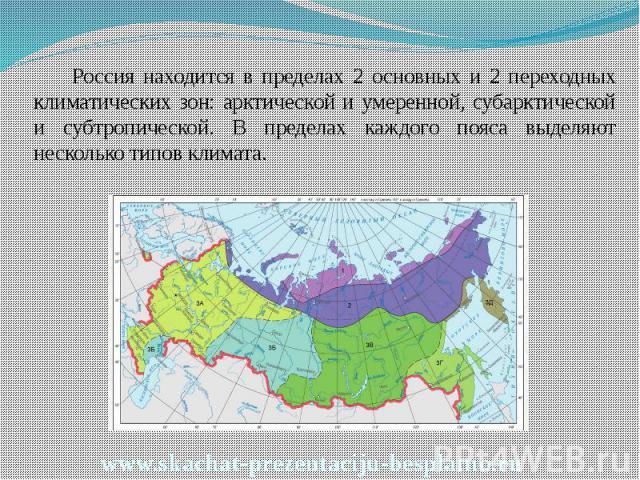 Россия находится в пределах 2 основных и 2 переходных климатических зон: арктической и умеренной, субарктической и субтропической. В пределах каждого пояса выделяют несколько типов климата. Россия находится в пределах 2 основных и 2 переходных клима…
