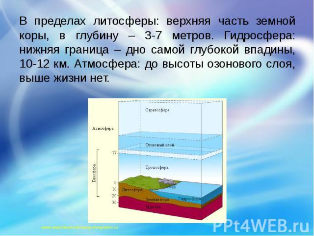 В пределах литосферы: верхняя часть земной коры, в глубину – 3-7 метров. Гидросфера: нижняя граница – дно самой глубокой впадины, 10-12 км. Атмосфера: до высоты озонового слоя, выше жизни нет. В пределах литосферы: верхняя часть земной коры, в глуби…