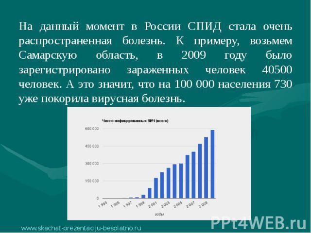 На данный момент в России СПИД стала очень распространенная болезнь. К примеру, возьмем Самарскую область, в 2009 году было зарегистрировано зараженных человек 40500 человек. А это значит, что на 100 000 населения 730 уже покорила вирусная болезнь. …