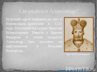 Где родился Александр? Будущий герой появился на свет в Переяславле-Залесском в