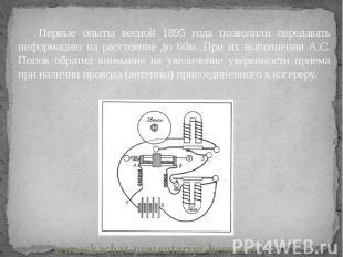 Первые опыты весной 1895 года позволили передавать информацию на расстояние до 6