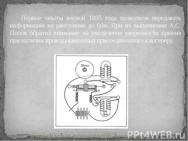 Первые опыты весной 1895 года позволили передавать информацию на расстояние до 60м. При их выполнении А.С. Попов обратил внимание на увеличение уверенности приема при наличии провода (антенны) присоединенного к когереру. Первые опыты весной 1895 год…