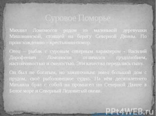 Суровое Поморье Михаил Ломоносов родом из маленькой деревушки Мишанинской, стоящ