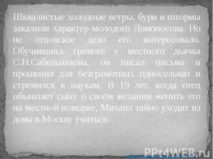 Шквалистые холодные ветры, бури и штормы закалили характер молодого Ломоносова.