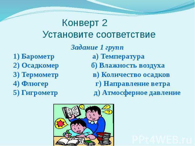 Конверт 2 Установите соответствие