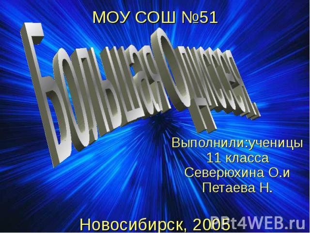 МОУ СОШ №51 Новосибирск, 2005 Выполнили:ученицы 11 класса Северюхина О.и Петаева Н.