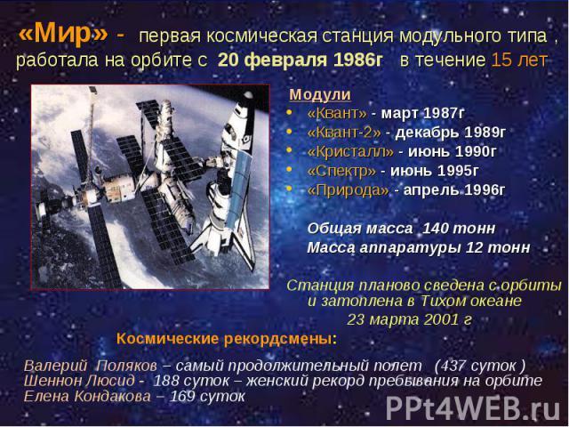 Модули Модули «Квант» - март 1987г «Квант-2» - декабрь 1989г «Кристалл» - июнь 1990г «Спектр» - июнь 1995г «Природа» - апрель 1996г Общая масса 140 тонн Масса аппаратуры 12 тонн Станция планово сведена с орбиты и затоплена в Тихом океане 23 марта 2001 г