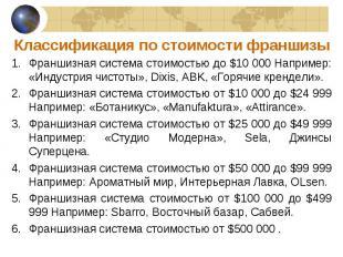 Франшизная система стоимостью до $10 000 Например: «Индустрия чистоты», Dixis, A